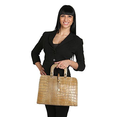 Chicca Borse Mujer Bolso con Correa de Hombro en Piel Genuina Made in Italy Python Pattern 37x26x14 Cm Barro