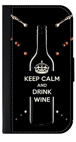 Keep Calm and Drink Wine - Iphone 5 Wallet Case with Closing Flip Cover and Credit Card Slots - Compatible with the Iphone 5 and 5S