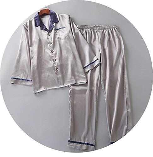 New Men's Pajamas Spring Autumn Long Sleeve Silk Sleepwear Cardigan,Dark Grey,XXL