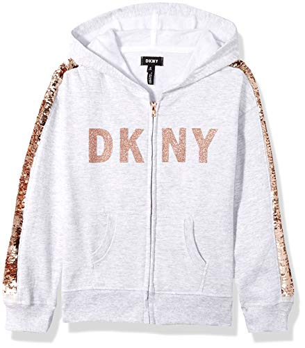 DKNY Girls' Big Sequin Zip Up Hoodie, Oatmeal Heather, 14/16 by DKNY