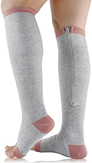 Ailaka Medical Zipper Compression Calf Socks 15-20 mmHg for Women and Men