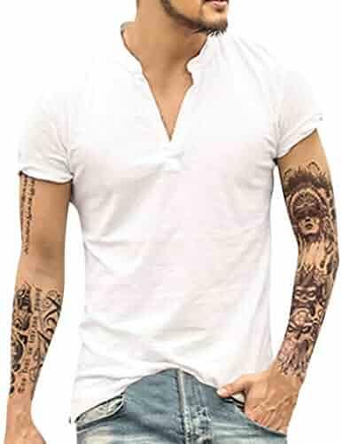 0b919a3e7 Masun Men's Shirts Casual Short Sleeve Retro Baggy Cotton Linen Vintage  Solid Color V-Neck