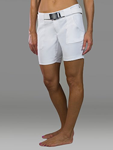 Belted Flat Front Shorts - Jofit New Belted Golf Short - White - 6