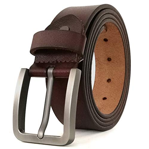 (JingHao Belts for Men Genuine Leather Belt for Jeans & Dress Black & Brown Regular Big &Tall Size 28