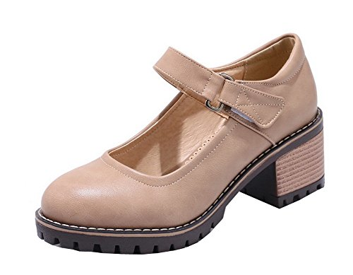 and Toe Loop Women's Beige WeenFashion Hook Pumps Kitten Shoes Closed Round Heels PU 6qEqzw