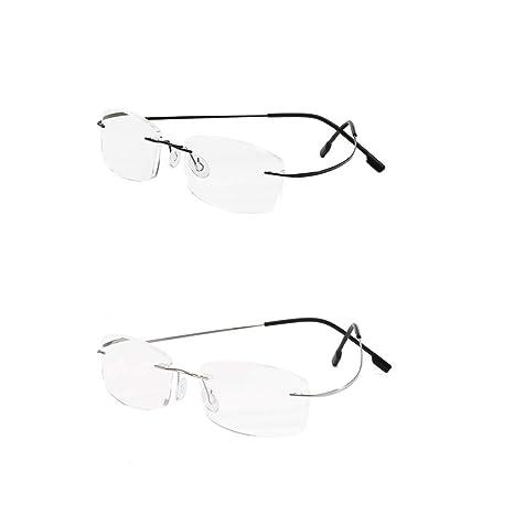 bde8e89f0169 2 Pack Rimless Reading Glasses Super Light Titanium Eyewear Men Women Sun  Readers Reading Glasses +2.0: Amazon.co.uk: Health & Personal Care
