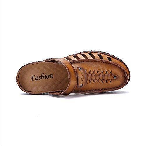 In Un da Sandalo Con pantofole 27 Uomo Paio spiaggia Scarpe 5 Scarpe Libero Da Il Wagsiyi Pelle Di CM Marrone Sandali Per 0 Tempo Antiscivolo 24 8Oqgw