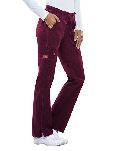 Leg Dickies Wide (Dickies Gen Flex Women's Low Rise Straight Leg Scrub Pant X-Large Wine)