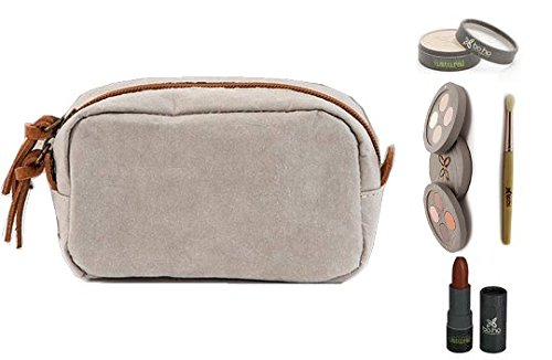 (Uashmama Small Makeup Bag + BOHO Green Revolution Makeup (4 product) - Eyeshadow Palette + Compact Foundation + Lipstick (Matt Transparent) + Eyeshadow Brush, Natural & Organic Skin Care, Cosmetic Bag)