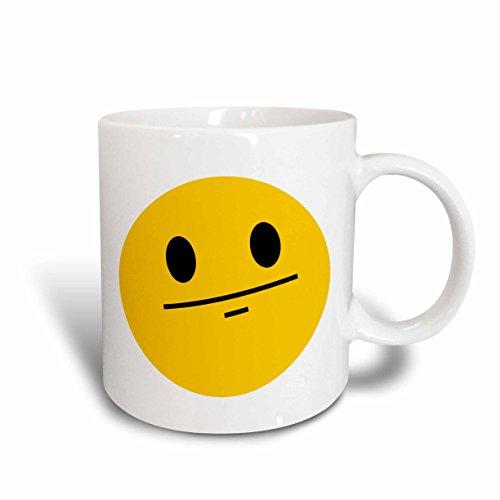 3dRose mug_113109_2 Poker Face Smiley Funny Straight Faced Cartoon Yellow Emoticon Serious No Emotion Expressionless Ceramic Mug, 15 oz, - Poker Face Cartoon