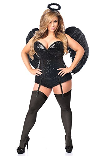 Daisy Corsets Women's Top Drawer Plus Size 4 Pc Sequin Dark Angel Corset Costume, Black -