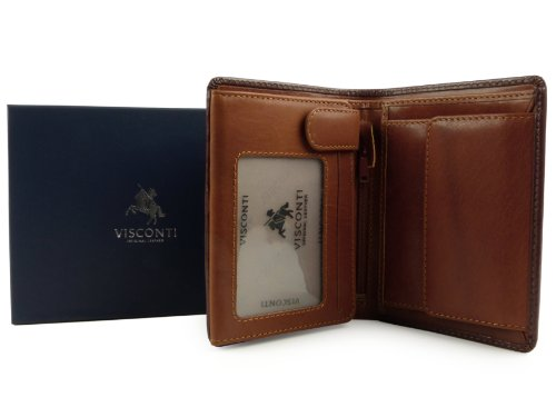 Gift VISCONTI amp; MENS Quality Boxed Torino LEATHER Brown by Collection Top Stylish WALLET Tan FASqw8xH