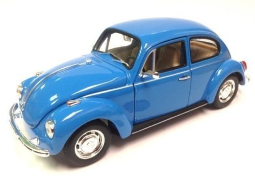 (NEW 1:24 DISPLAY WELLY COLLECTION - BLUE VOLKSWAGEN BEETLE HARD TOP Diecast Model Car By)
