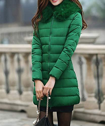 Mujer Manga Bonita Piel Abrigos Acolchada Bolsillos Capucha Cremallera Modernas Invierno Acolchado Abrigo Sintética Huixin Larga Otoño Cuello Termica Con De Chaqueta Verde Plumas pOaEWwx