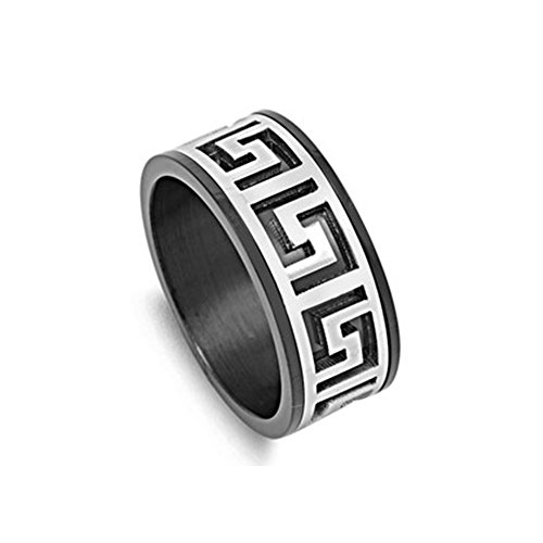 Noureda Stainless Steel Two-Tone Aztec Design Black Band Ring, Band Height of ()