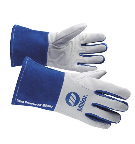 Welding Gloves, M, Wing, 11In, White/Blue, PR by Miller Electric (Image #2)