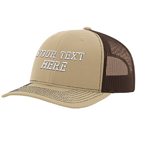 Speedy Pros Personalize Your Custom Text On Unisex Adult Snaps Polyester Richardson Structured Front Mesh Back Cap Hat - Khaki/Coffee, One (Twill Front Mesh Back Cap)