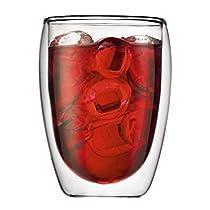 Bodum Pavina Set of 2 Double Wall Medium Tea / Coffee Glasses - 0.35L / 12oz