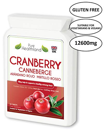 Gluten Free Cranberry Concentrate Supplement Tablets for Urinary Tract Infection UTI. Equals 12,600mg of Fresh Cranberries! 3X Strength for Men Women. Suitable for Vegetarians and Vegans. Made in UK