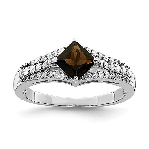 925 Sterling Silver Smoky Quartz Diamond Band Ring Size 7.00 Gemstone Fine Jewelry Gifts For Women For Her ()