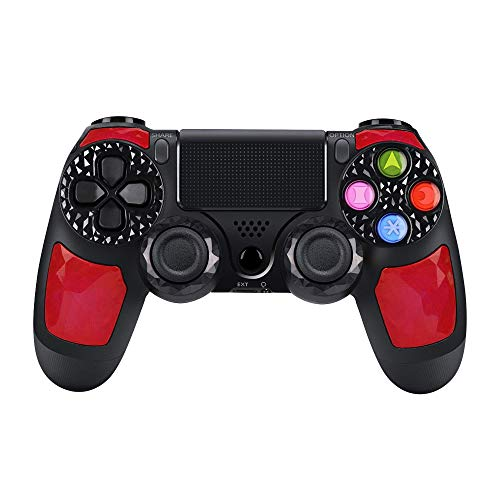 CHENGDAO PS4 Controller Wireless Dual Shock 4 Bluetooth Gaming Controller for Playstation 4 Remote Controller with Led Bar, Micro USB, Multi-Touch Clickable Touch Pad - Ruby (Best 4 Player Co Op Games Ps3)