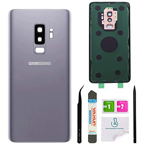 OmniRepairs Rear Back Battery Door Cover Replacement Compatible for Samsung Galaxy S9 Plus G965 (All Models) with Adhesive and Repair Toolkit (S9 Plus Titanium Gray)