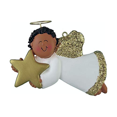 (Personalized Angel with Star Christmas Tree Ornament 2019 - African-American Male Religious Prayer Heaven Man Gold Dress Wings Boy Halo Memorial Remembrance Black - Free Customization (Ethnic))
