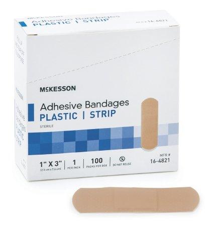 Case of 100 New McKesson Plastic Rectangle Tan Sterile Adhesive Strip 1 X 3 Inch ()