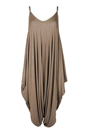 Oops Outlet Women's Thin Strap Lagenlook Romper Baggy Harem Jumpsuit Playsuit M/L (US 8/10) Mocha