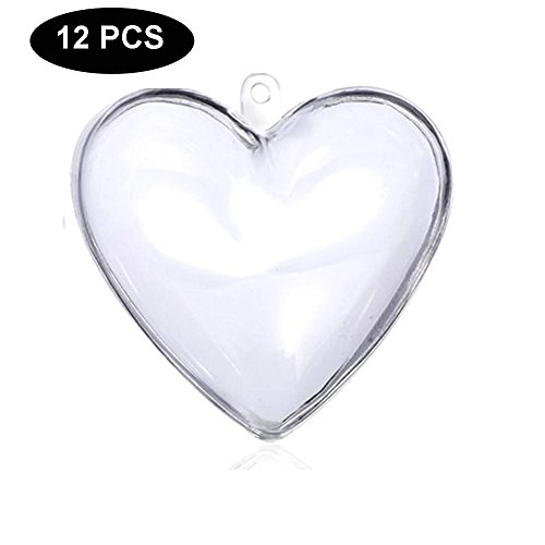 Crafting Mold (LFM 12PCS DIY Christmas Ball Ornaments Clear Plastic Acrylic Bath Bomb Crafting Mold-Heart 80mm)