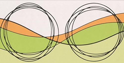 ベージュオレンジグリーン抽象壁紙ボーダーサークル波デザインロール15フィートx7インチ