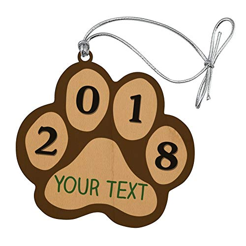 GRAPHICS & MORE Personalized Custom 1 Line Green 2018 Paw Print Wood Pet Cat Dog Christmas Tree Holiday Ornament