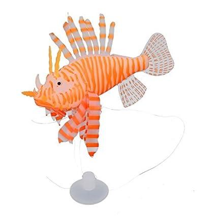 Amazon.com: eDealMax Silicona simulado Artificial pez león ornamento ...
