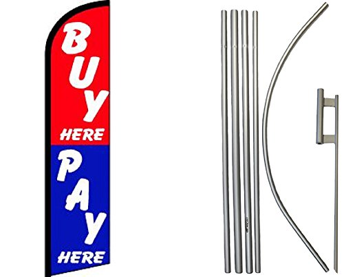 Buy Pay Here Red Blue Windless Banner Flag & 16ft Flagpole Kit / Ground Spike Banner Double Stitched Fade Resistant Premium Quality