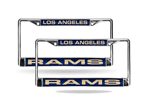 (DEAD) Los Angeles Rams NFL Chrome Metal (2) Laser License Plate Frame Set by Rico