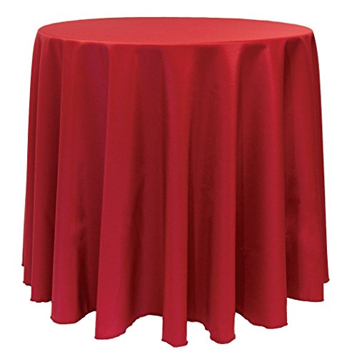 Ultimate Textile (10 Pack) 132-Inch Round Polyester Linen Tablecloth - for Wedding, Restaurant or Banquet use, Holiday Christmas Red by Ultimate Textile
