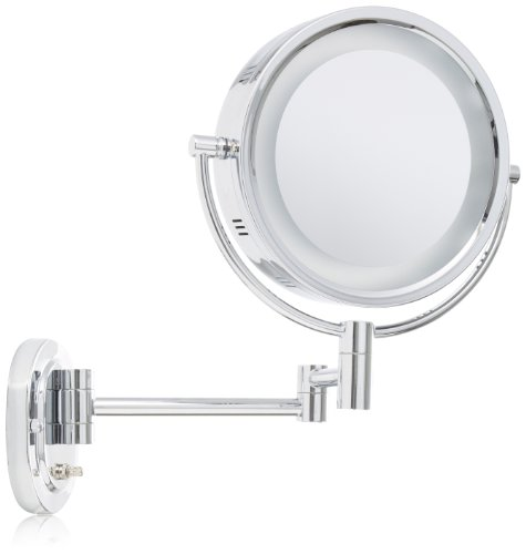 Jerdon HL65C 8-Inch Lighted Wall Mount Makeup Mirror with 5x Magnification, Chrome Finish Chrome Wall Mount Mirror