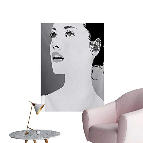 Anzhutwelve Girls Wallpaper Young Gentle Woman with Make Up Looking in Digital Stylized She Artsy Graphic PrintBlack Grey W24 xL32 Art Poster ()