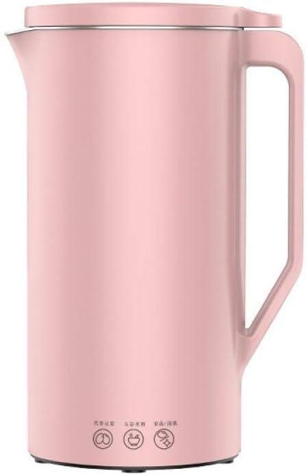 Mini Portable Automatic Soymilk Maker with110V Plug Multi-Function Hot Soy Milk Juicer Blender Maker for Breakfast Drink-Pink