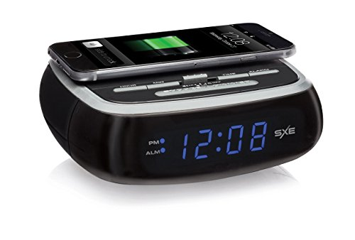SXE Digital Alarm Clock with Wireless Charging (Nyl Pad)