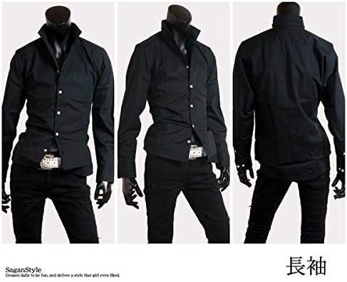 イタリアンカラー メンズ ドレスシャツ 日本製 長袖 7分袖 A280818-08