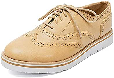 Susanny Women's Wigtips Oxfords Platform Lace Up Brogues Slip on Perforated Spring Shoes Beige Size: 6