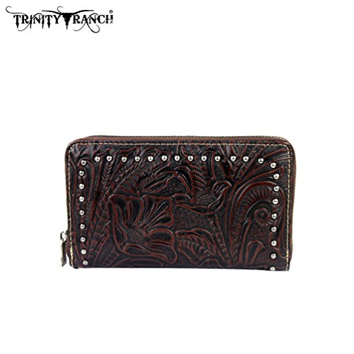TR22-W003 Montana West Trinity Ranch Tooled Design Wallet-Coffee