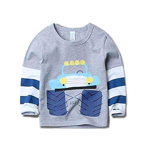 Fashion Little Boys Cartoon Printed Patchwork Long Sleeve T-Shirt