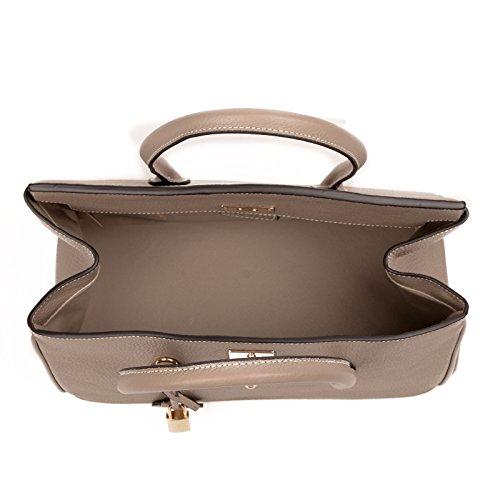 ROUVEN Taupe eToupe Gris & Gold GRACE 35 Tote Bag sac fourre-tout sac en cuir pleine sac à main dames sac à bandoulière noble classiques petite moderne (35x20x15cm)