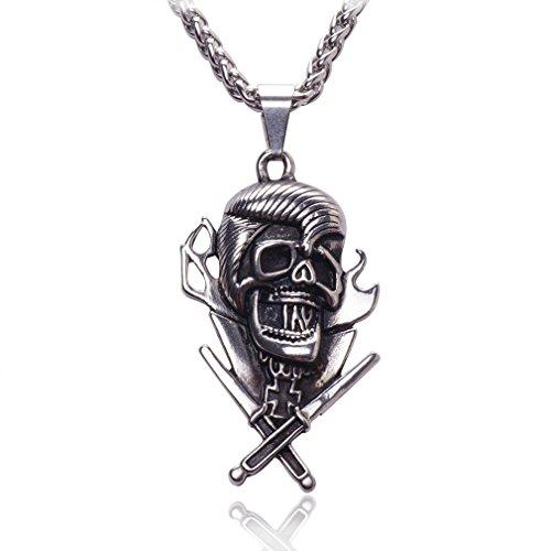 NAWAY Men's Stainless Steel Skull and Cross Swords Pendant Necklace