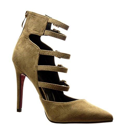 Angkorly - Zapatillas de Moda Tacón escarpín stiletto sexy mujer multi-correa Hebilla metálico Talón Tacón de aguja alto 10.5 CM - Caqui