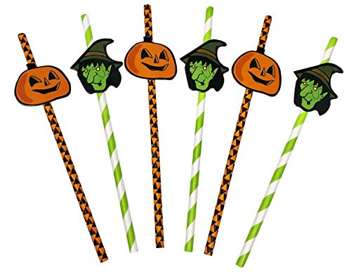 50 Pack - Halloween Themed Recyclable Paper Party Straws with Jack-O-Lantern and Witch Designs - Orange, Green, and Black -