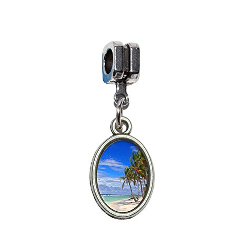 Graphics and More Tropical Beach - Island Sky Clouds Vacation Italian European Euro Style Bracelet Charm Bead - Fits Pandora, Biagi, Troll, Chamilla, Others