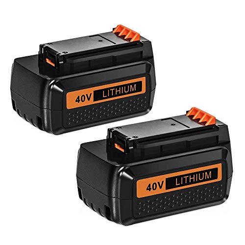 Hfeng 2 Pack 40 Volt MAX 3.0Ah Lithium Replacement Battery Compatible with Black and Decker 40V Battery LBX2040 LBXR36 LBXR2036 LST540 LCS1240 LBX1540 LST136W Black+Decker Lithium Battery